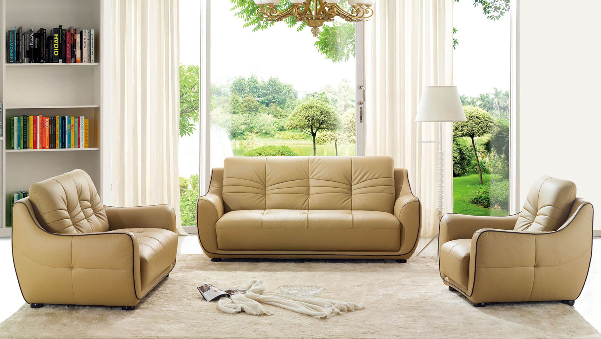 Remarkable bonded leather beige tufted sofa set phoenix for Tufted couch set