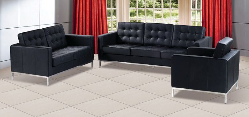Contemporary leather sofa set f08 with elegant metal for Living room furniture sets michigan