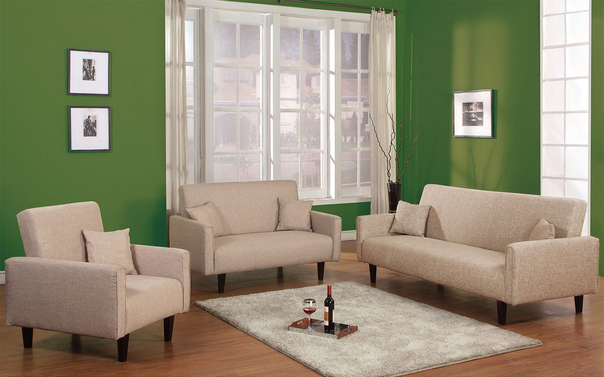3 Pc Living Room Sleeper Set In Grey Red Or Oatmeal Soft