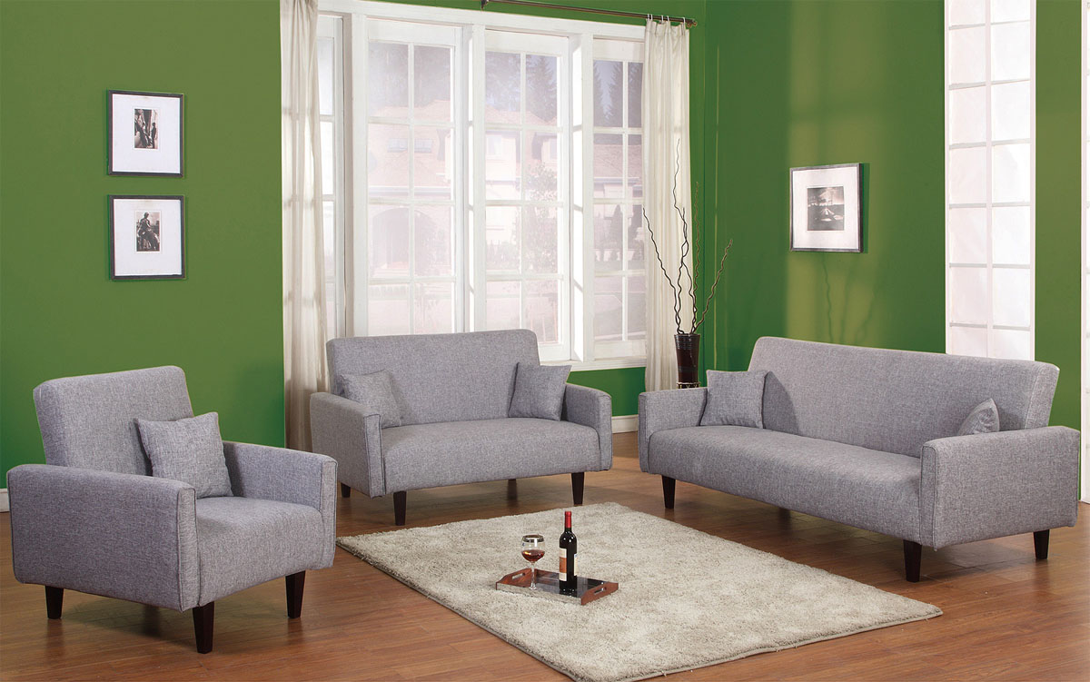 3 PC Living Room Sleeper Set in Grey, Red or Oatmeal Soft Fabric El ...