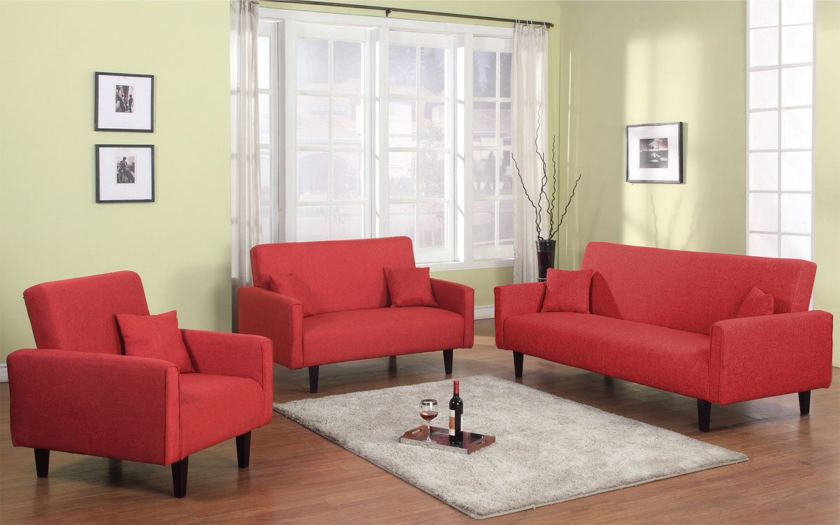 3 PC Living Room Sleeper Set In Grey, Red Or Oatmeal Soft Fabric El Paso  Texas AHOXFORD