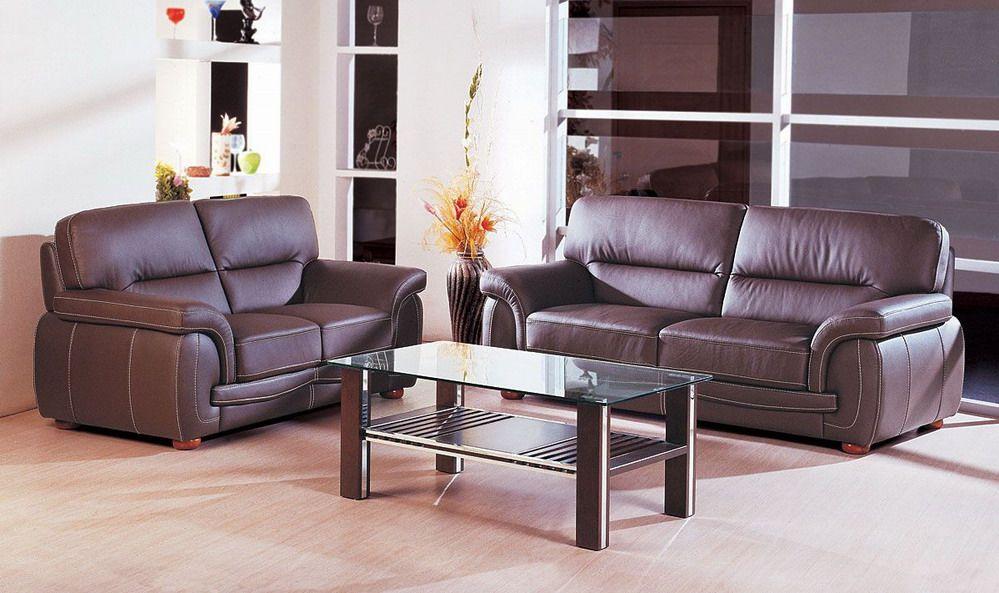 Sienna Brown Leather Contemporary Sofa Set Dallas Texas
