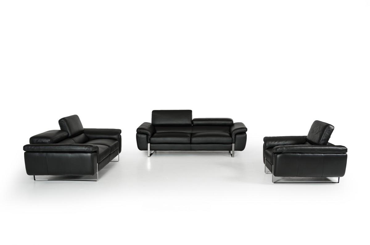 Italian Made Black Top Grain Full Leather Sofa Set Indianapolis