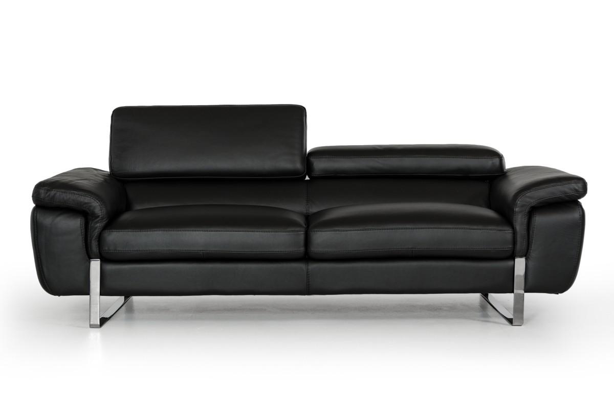 Italian Made Black Top Grain Full Leather Sofa Set