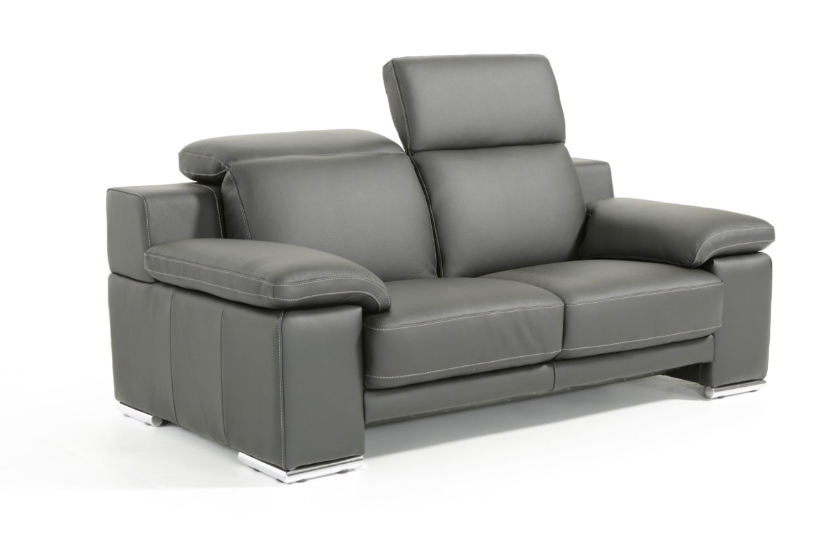 Made In Italy Full Leather Panther Black Sofa Set San