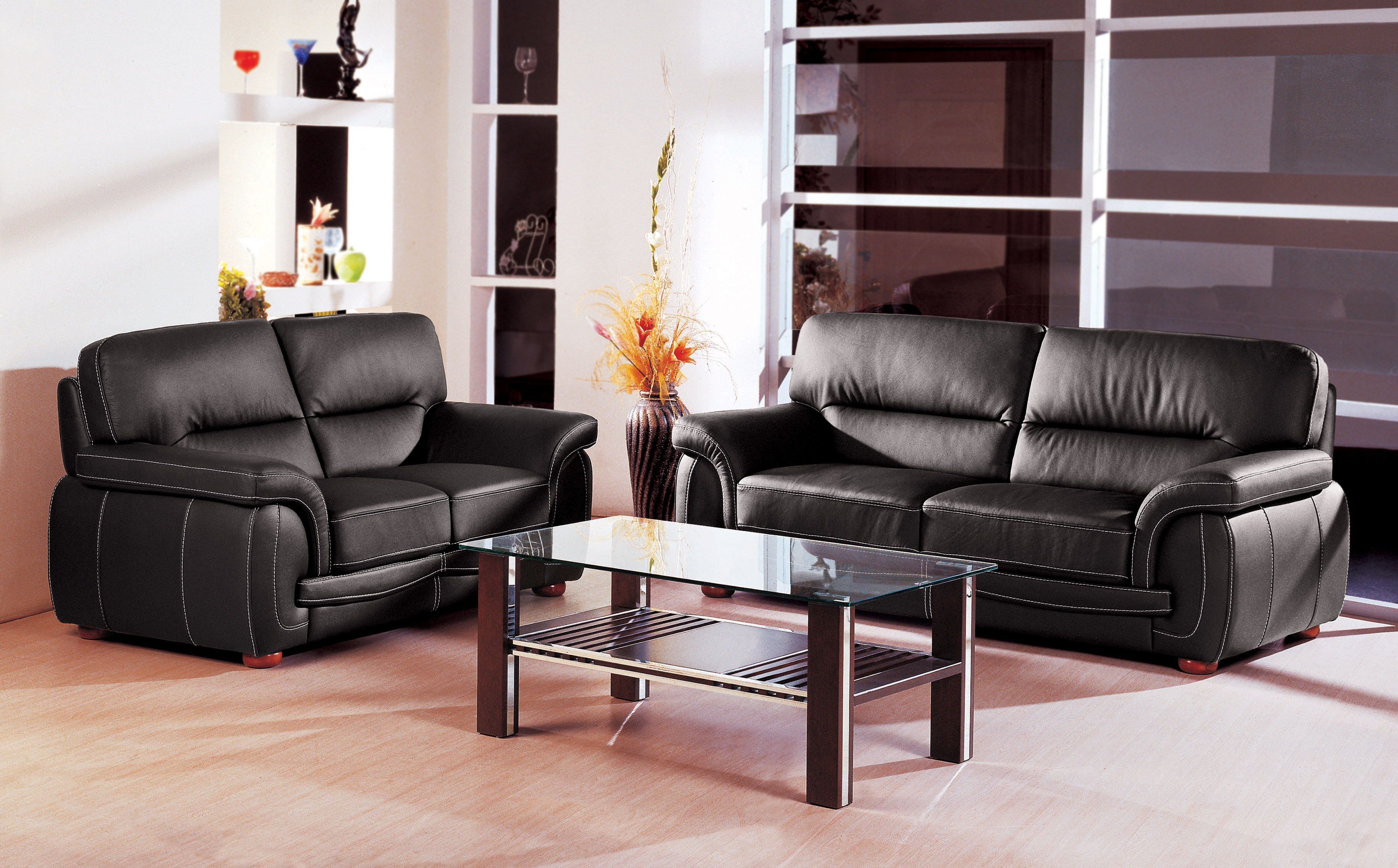 Black Italian Leather 3 pcs Sofa Set Garne