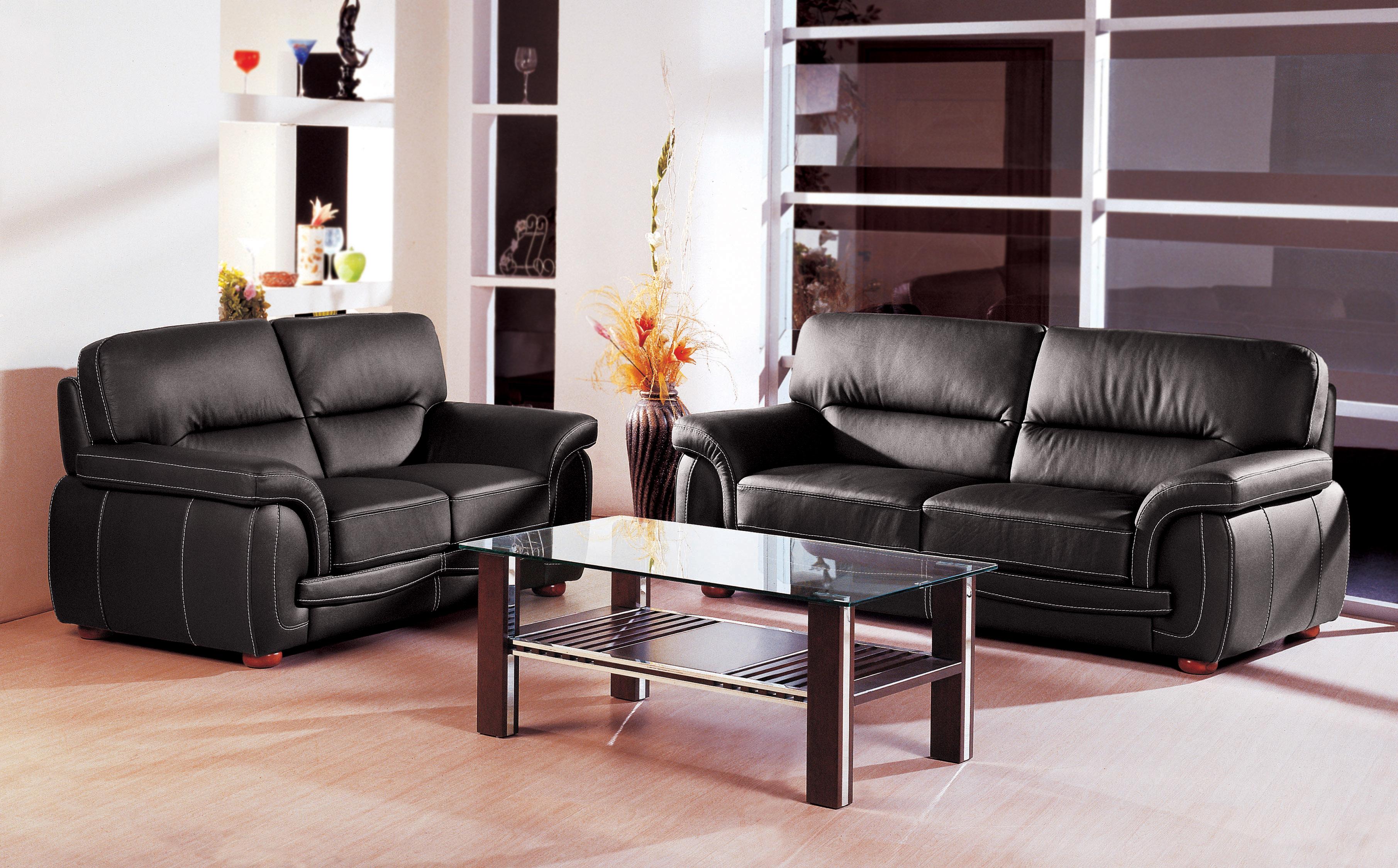 Black Italian Leather 3 Pcs Sofa Set Garne Austin Texas