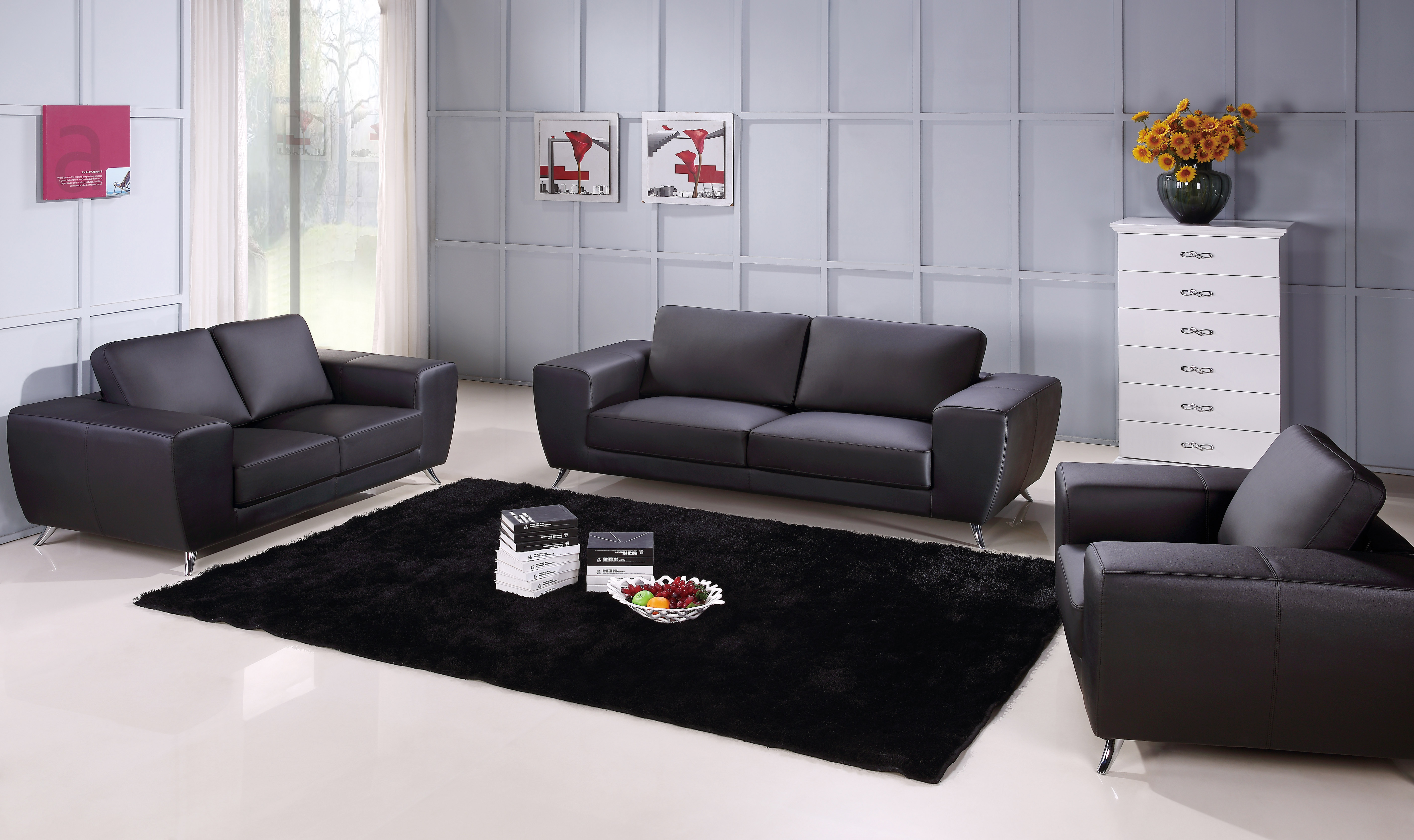 Unique Sofa Set Upholstered In Black Leather Fresno