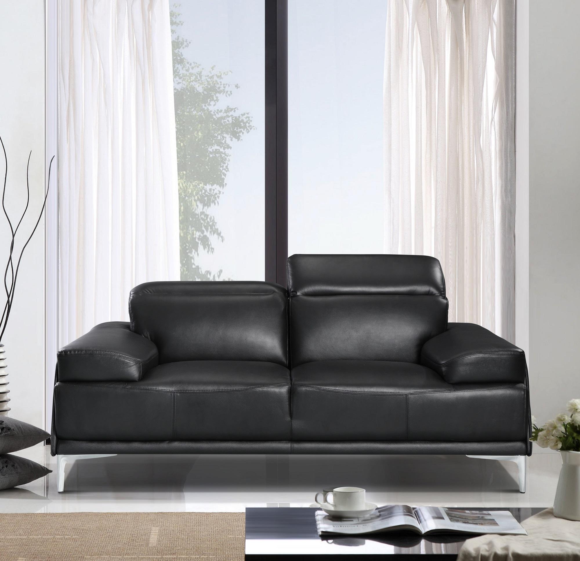 contemporary black leather living room sofa set