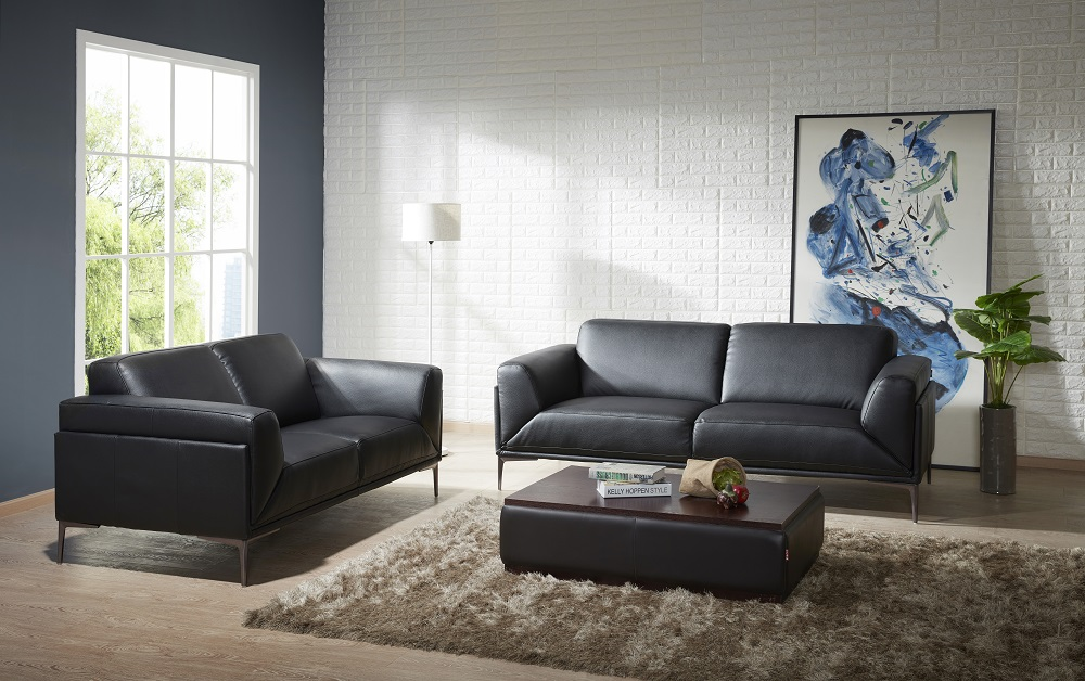Menphis Black Leather Contemporary Sofa Set