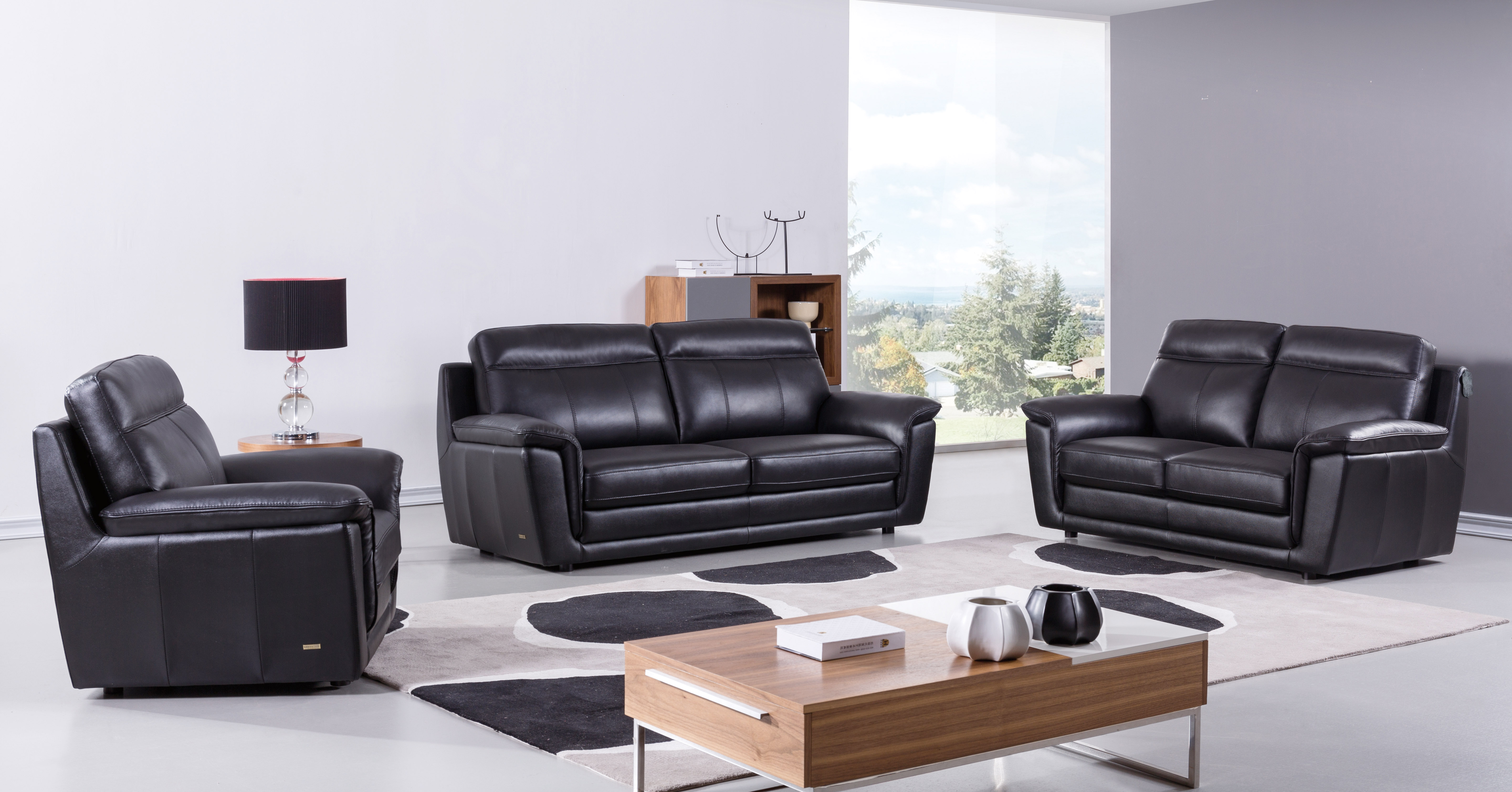 Genuine And Italian Leather, Modern Designer Sofas. Black Contemporary Living  Room Set ... Part 66