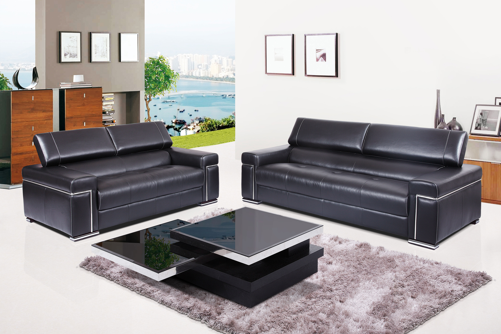 Top Grain Leather And Chrome Three Piece Living Room Set Memphis Tennessee Esf Fd2217b