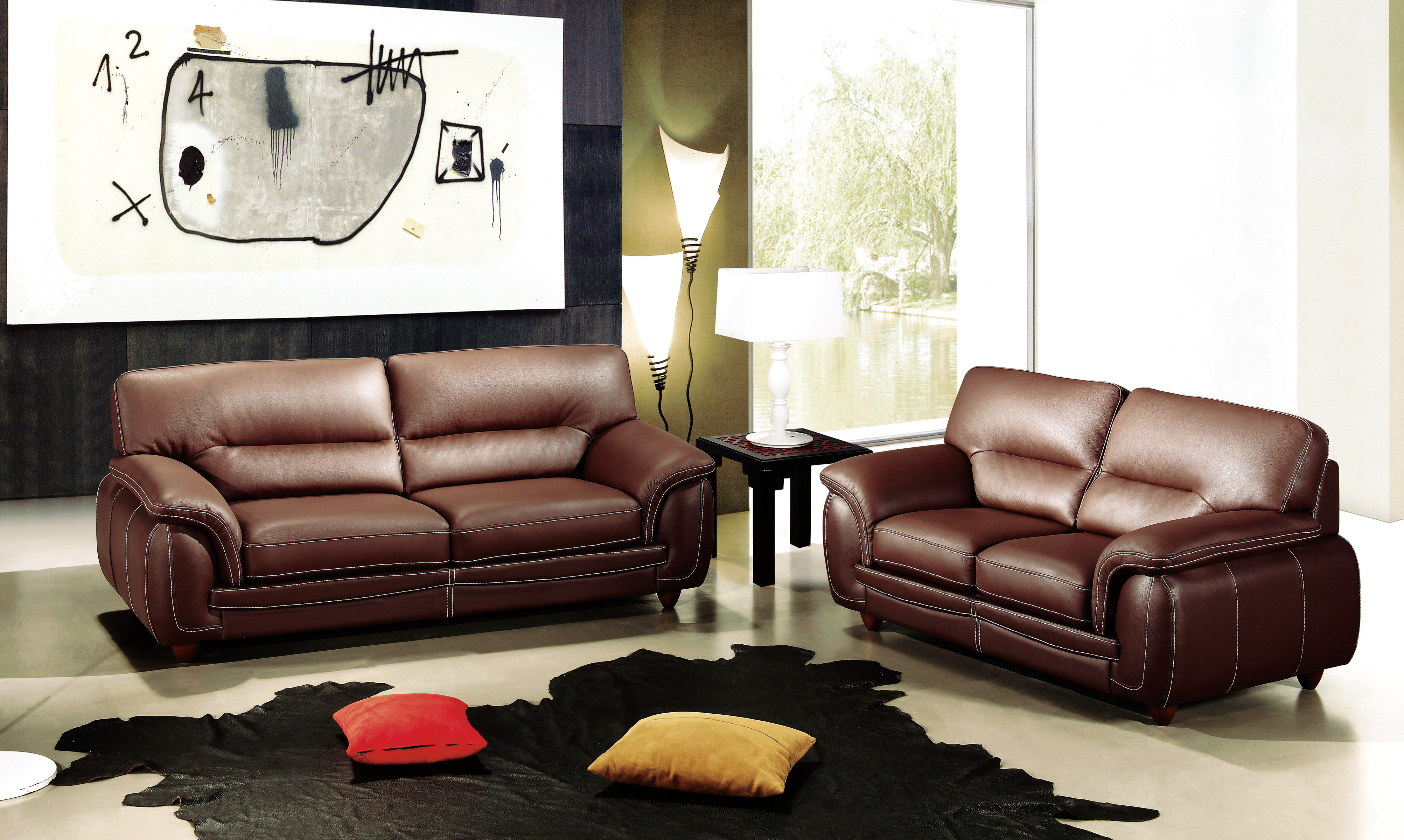 Chocolate Brown Leather Three Piece Living Room Set Mesa