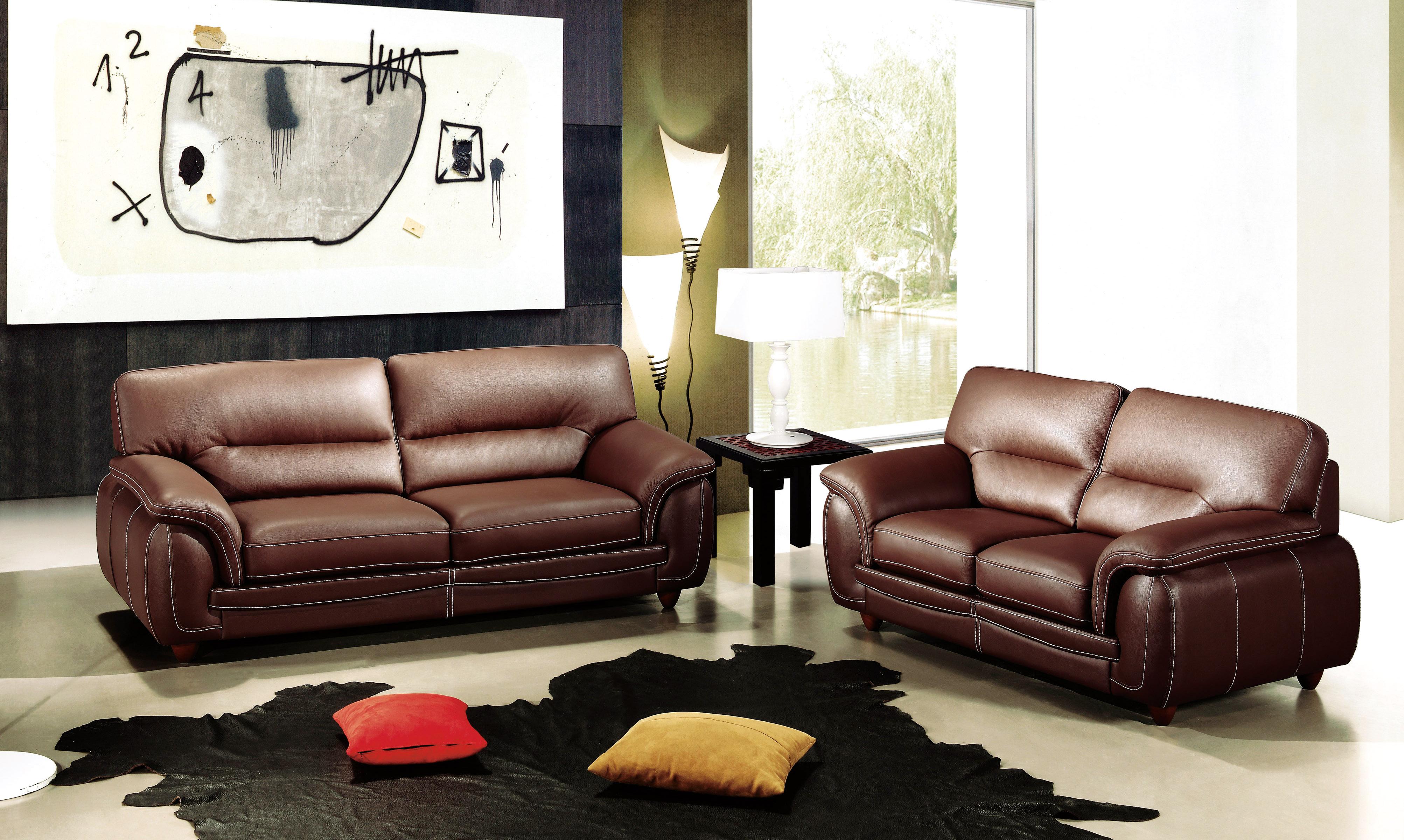 Chocolate Brown Leather Three Piece Living Room Set Mesa