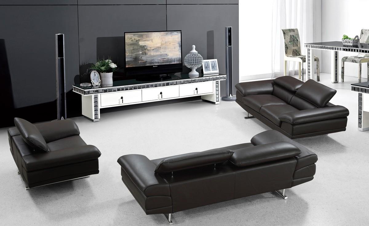 Modern Rich Brown Genuine Leather Sofa Set Dallas Texas
