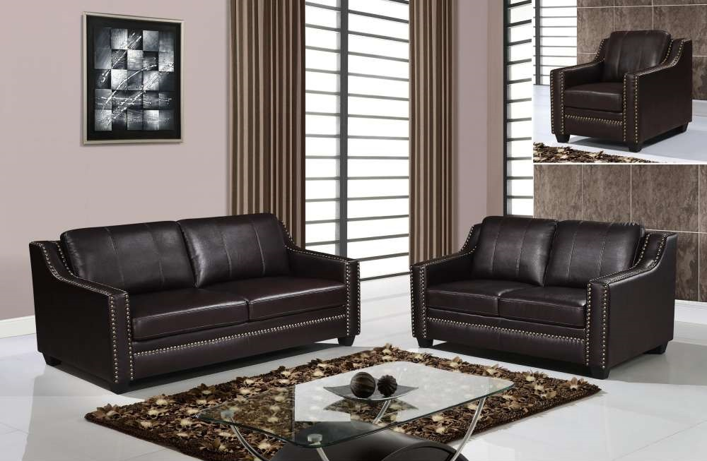 Classic style brown sofa set with studded accents houston for Leather studded couch