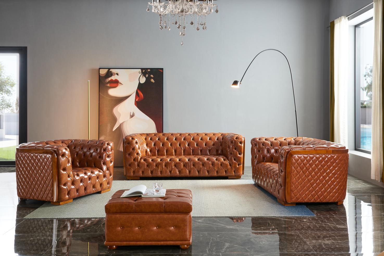 Top Grain Italian Leather Contemporary Sofa Set Phoenix Arizona ESF-415- Brown