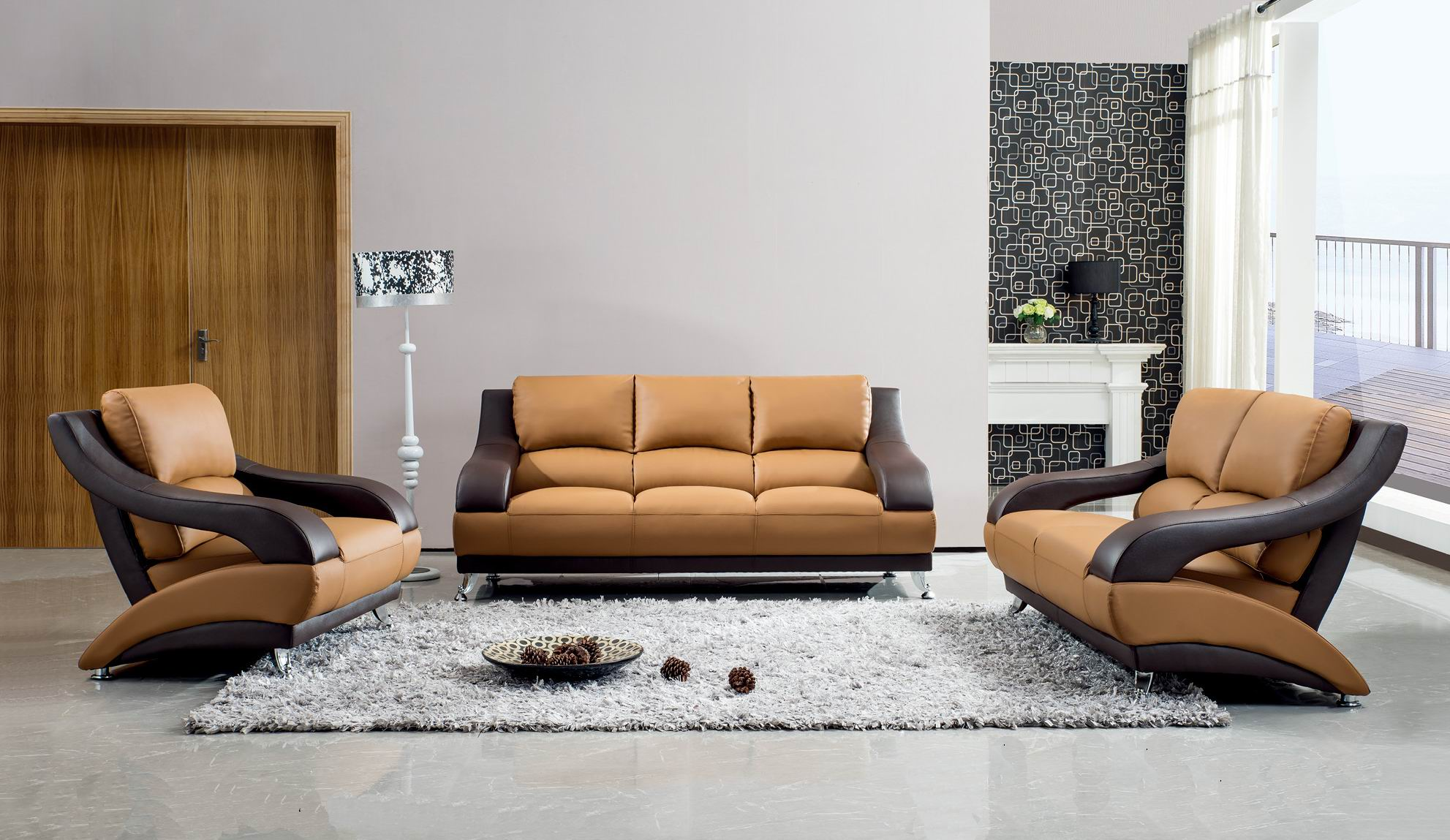 Brown Leather Contemporary Living Room Set with Metal Legs