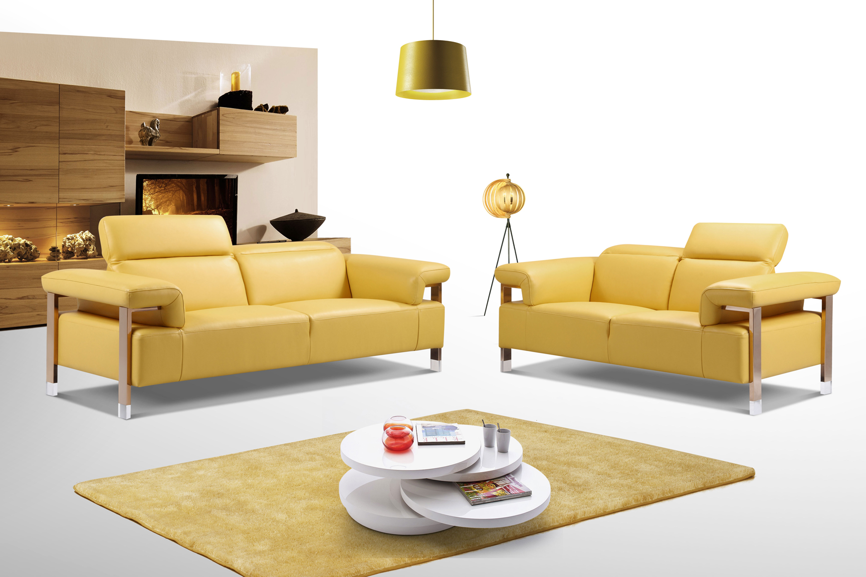 Canary yellow three piece top grain leather living room for Three room set design