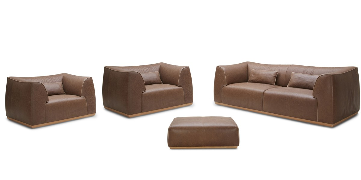 Italian caramel color genuine leather sofa set for Genuine italian leather sectional sofa