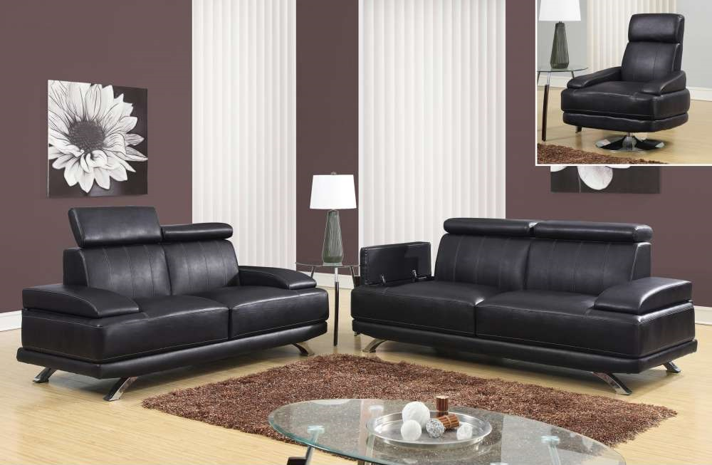 Chocolate Leather Sofa Set With Chrome Legs And Swivel Chairs San Antonio Texas Gfulv6