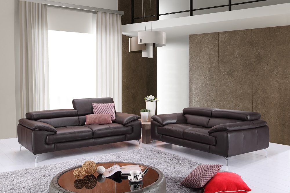 Luxurious brown premium leather sofa and loveseat san diego california j m a973 brown for Living room furniture san diego
