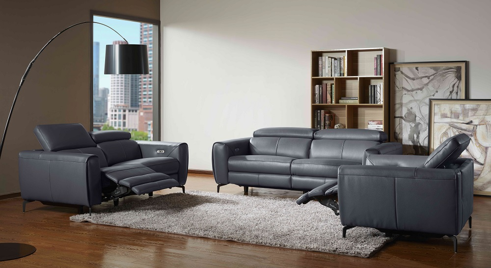 Leather Living Room Set with Metal Frame Legs