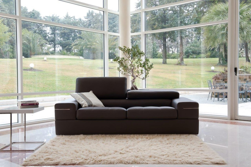 Brown contemporary living room set finest genuine italian leather stockton california antonio Modern sofas to go with any type of decor
