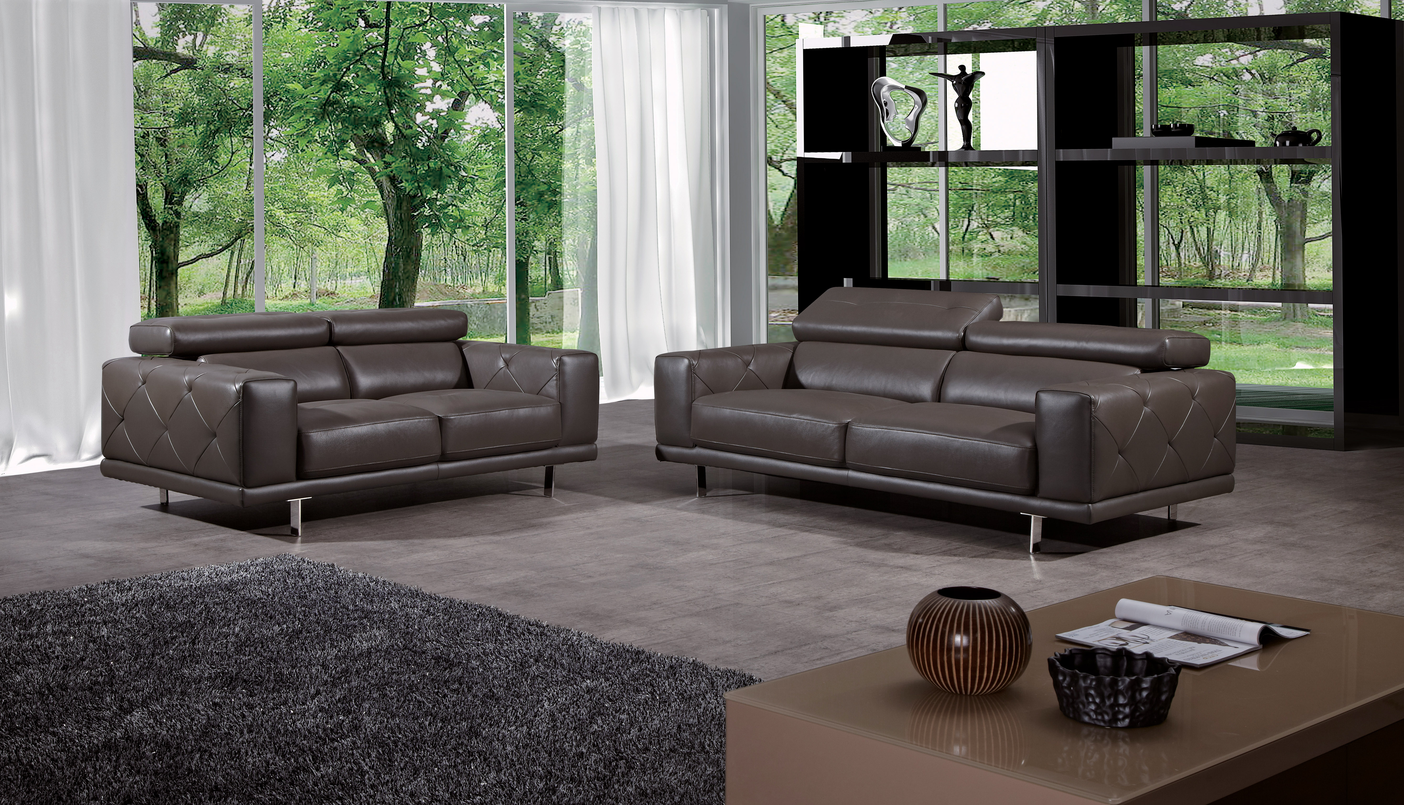 functional living room furniture sets | Functional Three Piece Premium Leather Designer Set - Palm ...