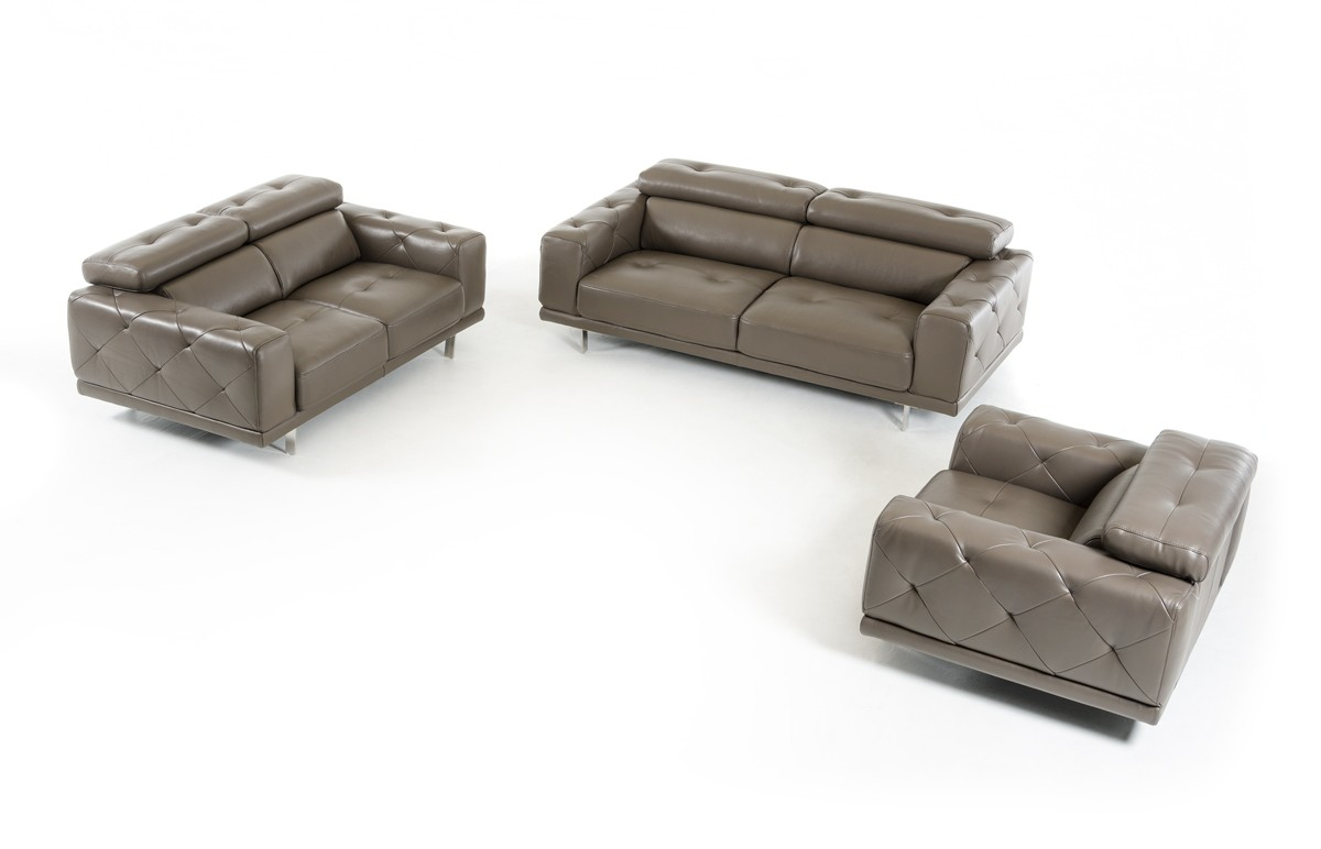 Modern dark grey genuine leather tufted sofa set houston for Tufted couch set