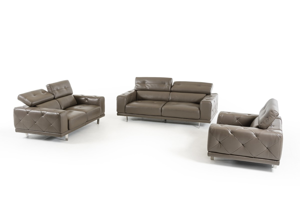 Wunderbar Modern Dark Grey Genuine Leather Tufted Sofa Set Houston Texas  VIG Albury S166