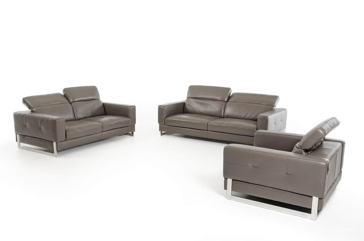 Great Dark Grey Genuine Leather Sofa Set Phoenix Arizona VIG Perth 8004 Grey