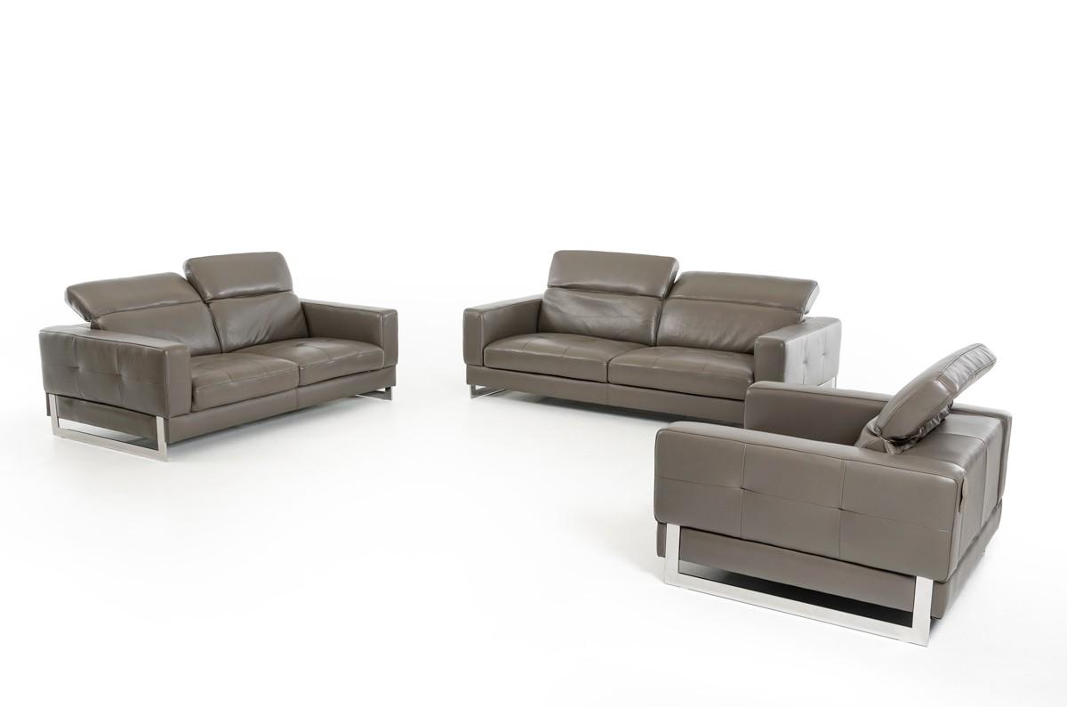 Great Dark Grey Genuine Leather Sofa Set Phoenix Arizona VIG Perth 8004 Grey
