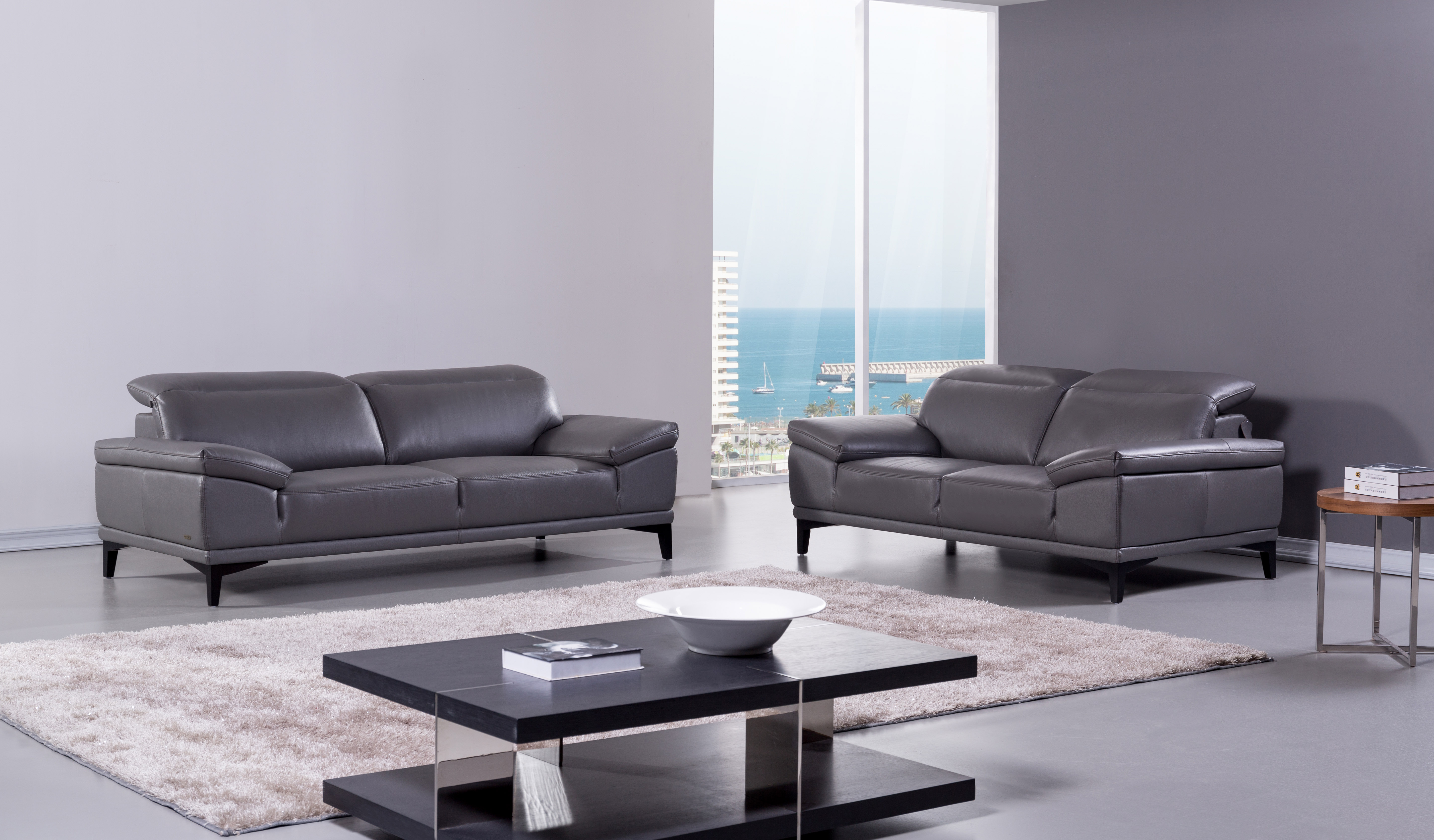leather living room furniture sets contemporary genuine leather living room set baltimore 16653 | dark grey real italian leather sofa and loveseat bh 215
