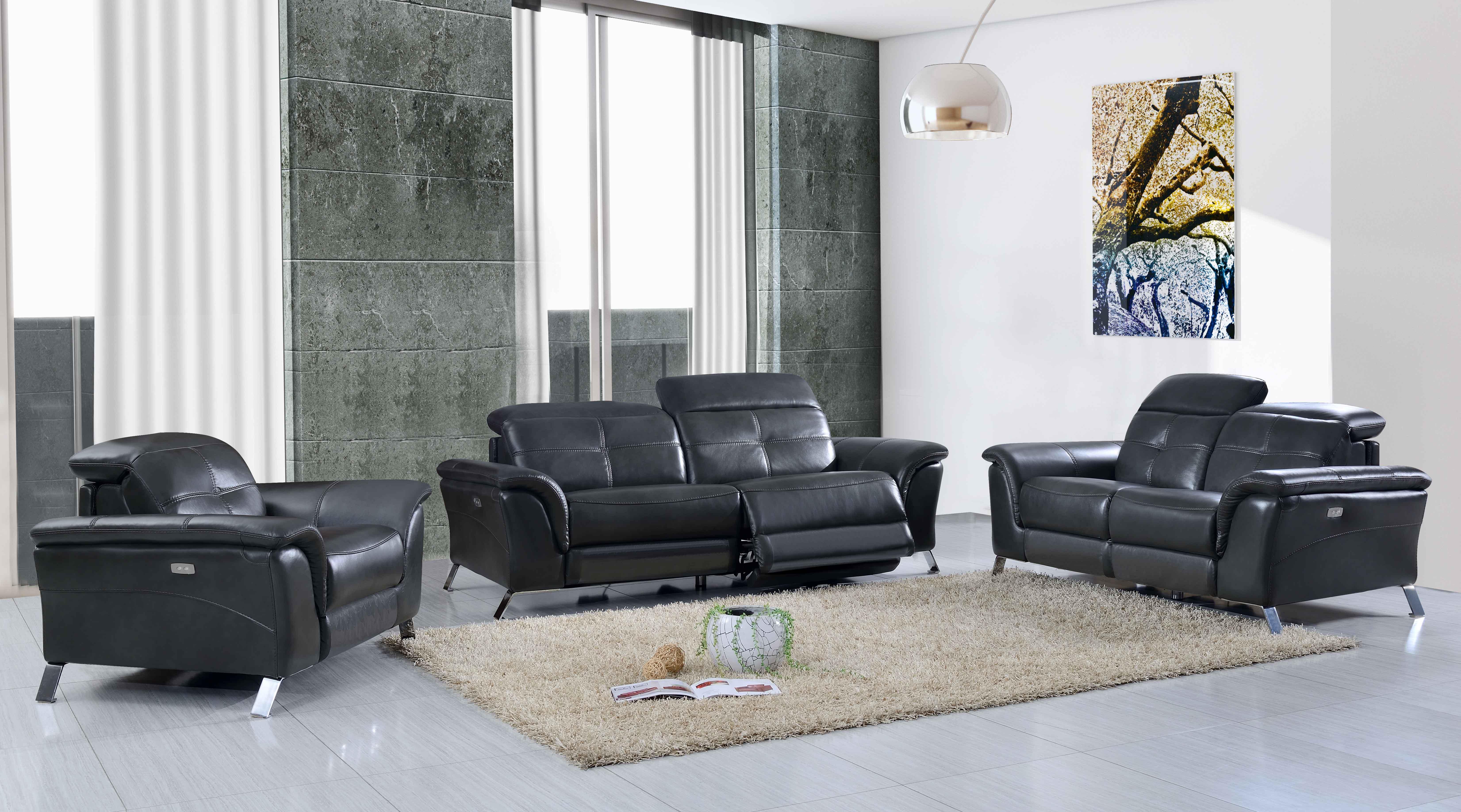 Italian Leather Sofa Set with Steel Legs