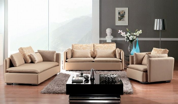 Champagne color microfiber three piece sofa set washington dc d503aohe for Best time of year to buy living room furniture