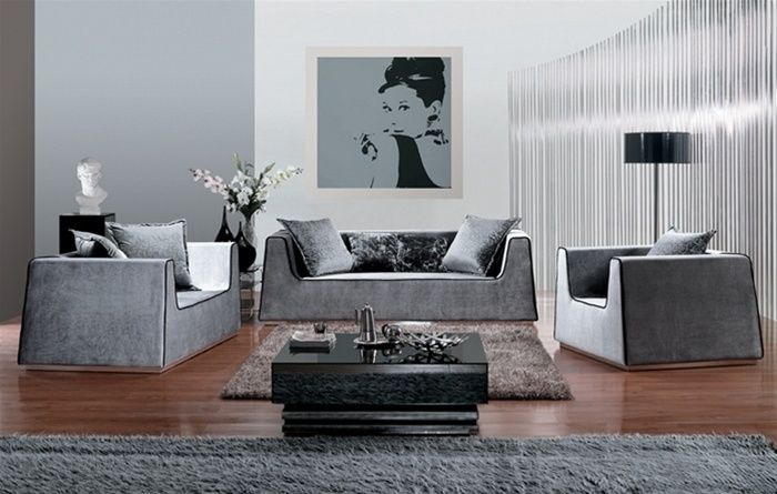 Charcoal microfiber sofa set with black trimming denver colorado d563aohe Modern sofas to go with any type of decor