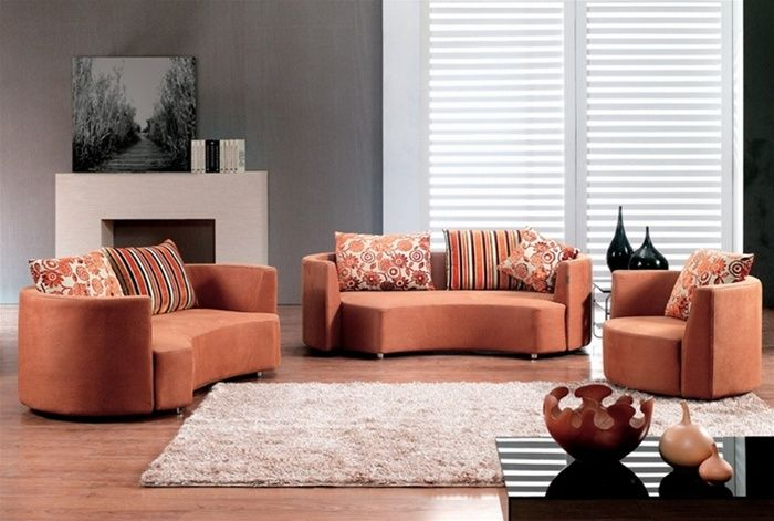 Pumpkin Color Microfiber Three Piece Sofa Set Nashville