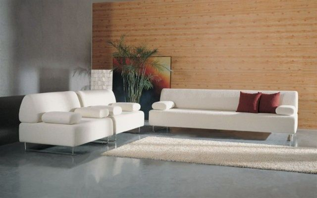 Microfiber white sofa set with stainless steel base fort worth texas 311fohe Modern sofas to go with any type of decor