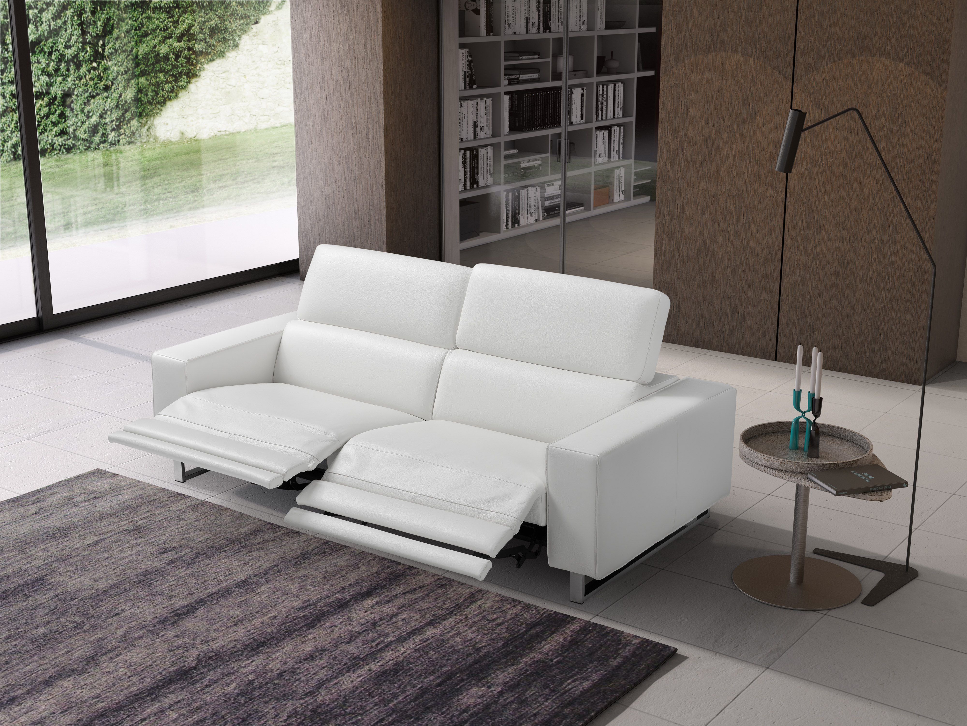 Grace White Leather Sofa Set with Adjustable Headrests