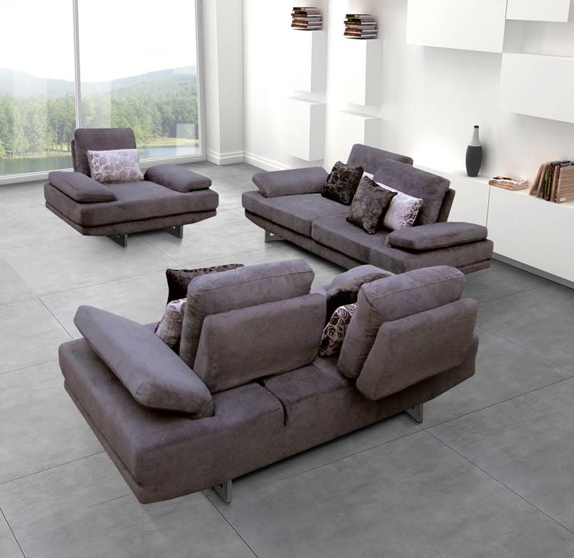 Contemporary fabric living room sofa set with adjustable for Leather and fabric living room sets