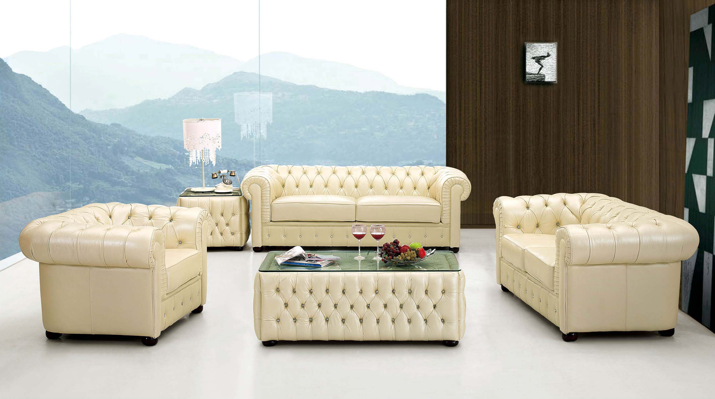 Ivory Italian Leather Sofa Set With Buttons Raleigh North