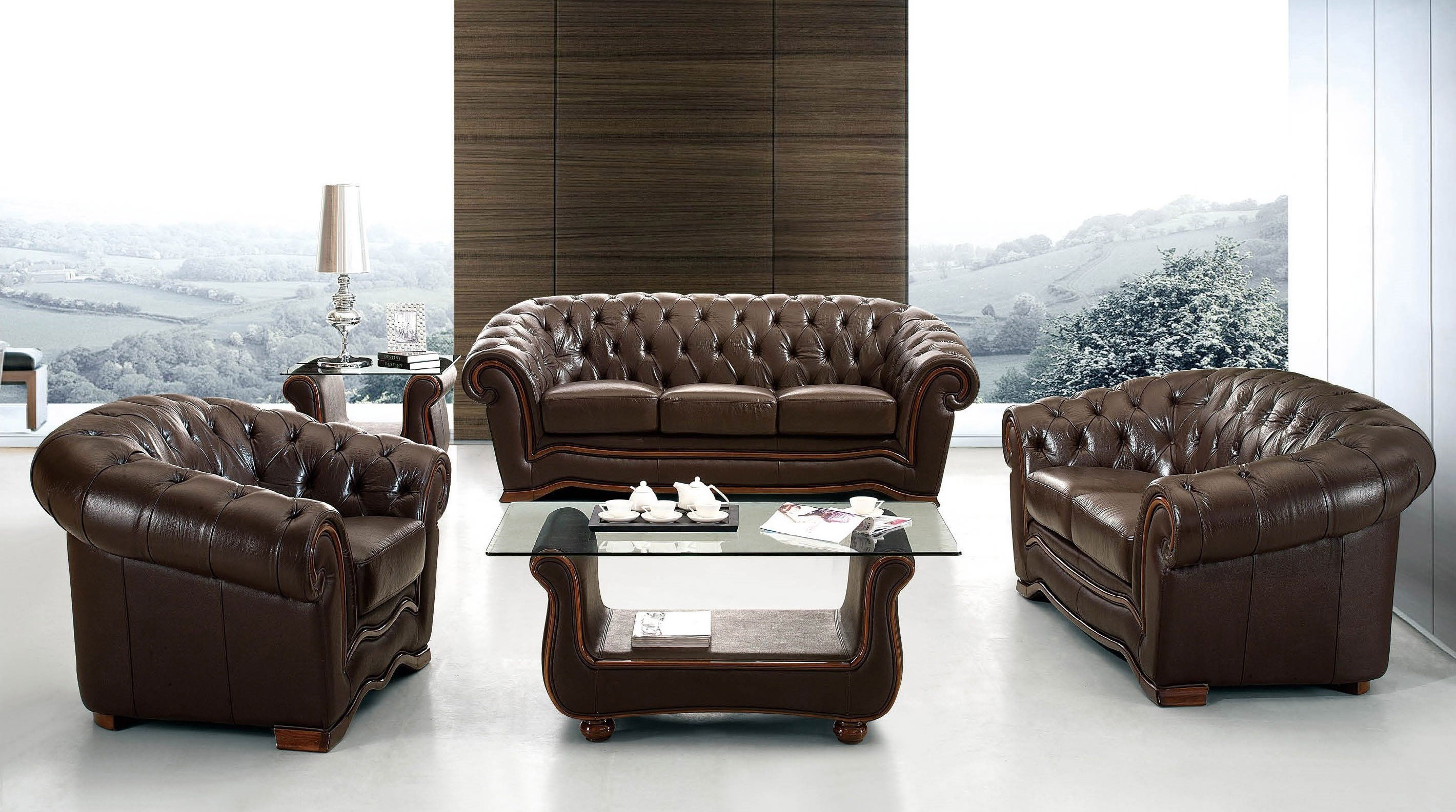 Traditional Brown Italian Leather Living Room Set Toledo Ohio Esf262