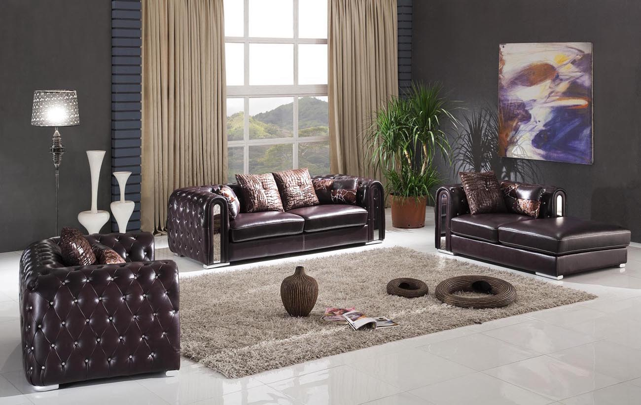 Geniune leather living room set with crystals and pillows for Luxury living room set