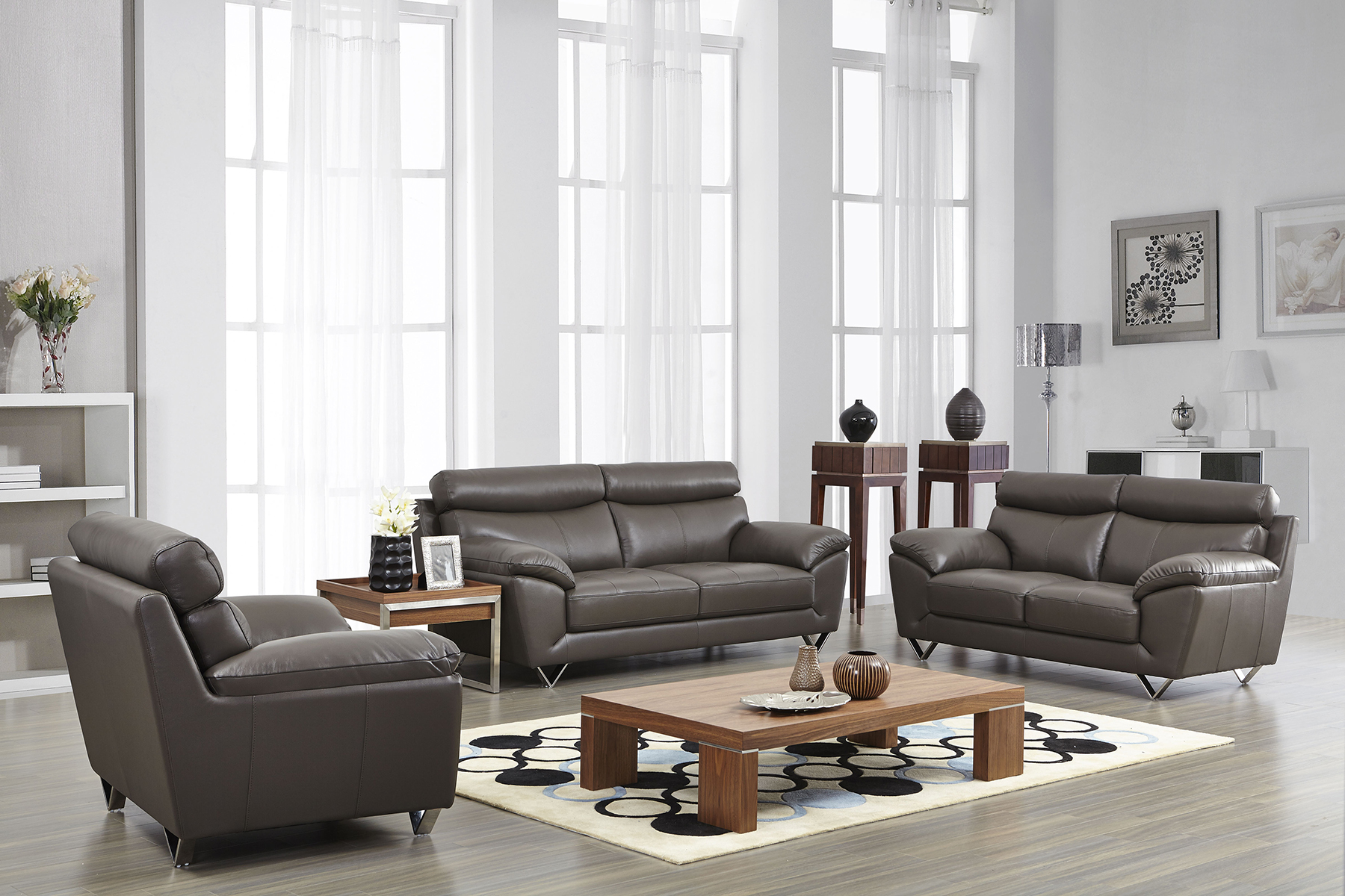 Contemporary stylish leather 3pc sofa set with chrome legs for Living room ideas with leather furniture