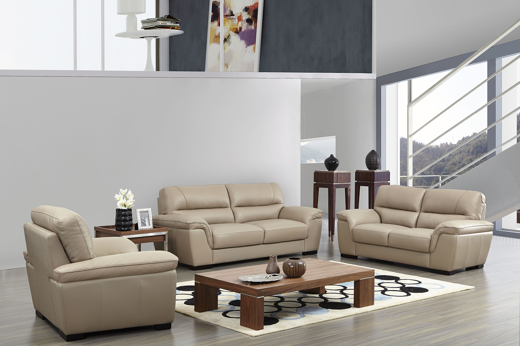 Contemporary beige leather stylish sofa set with wooden for Sectional living room sets