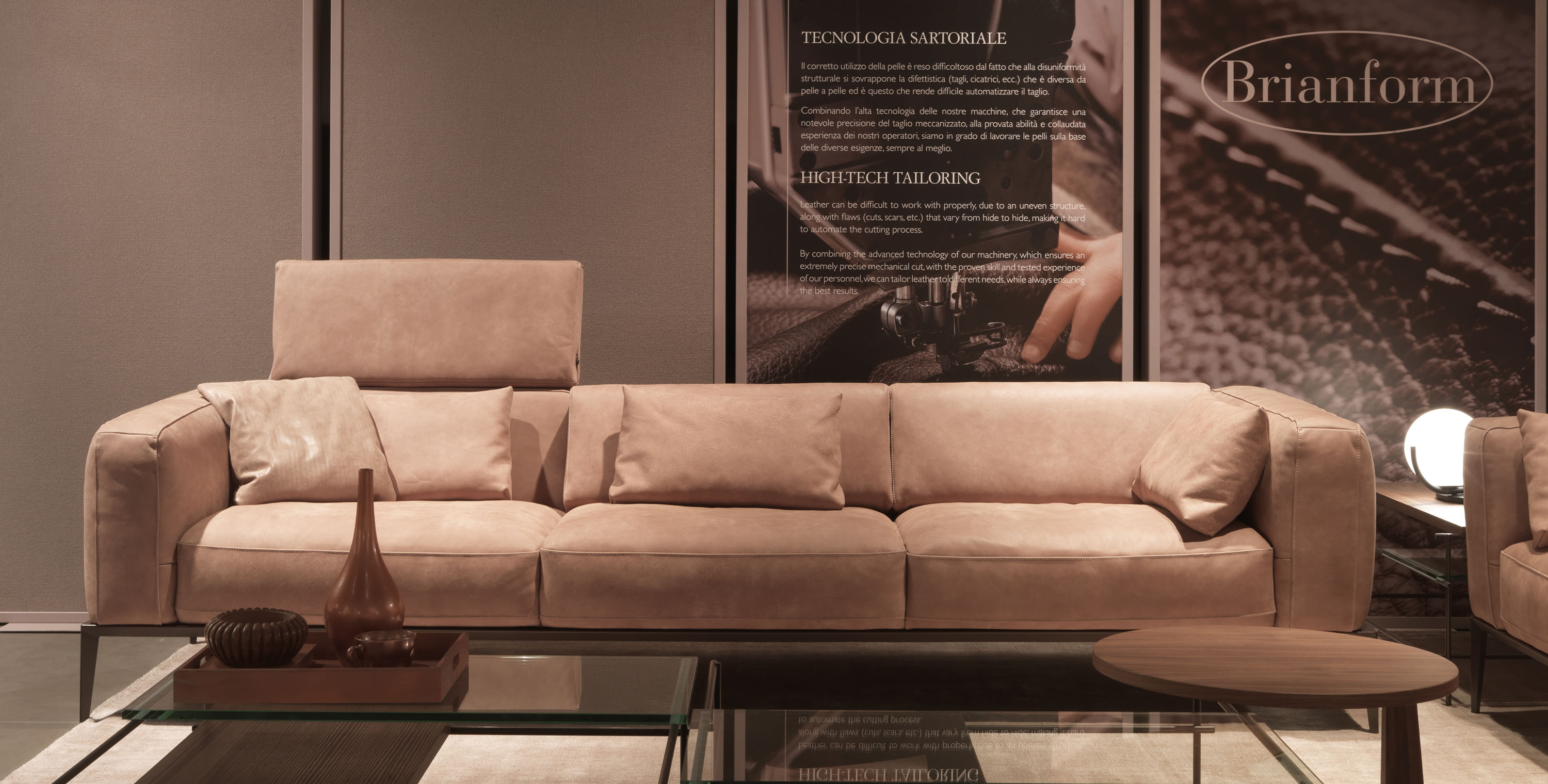 Two Pieced Italian Leather Sofa Set In Tan Memphis
