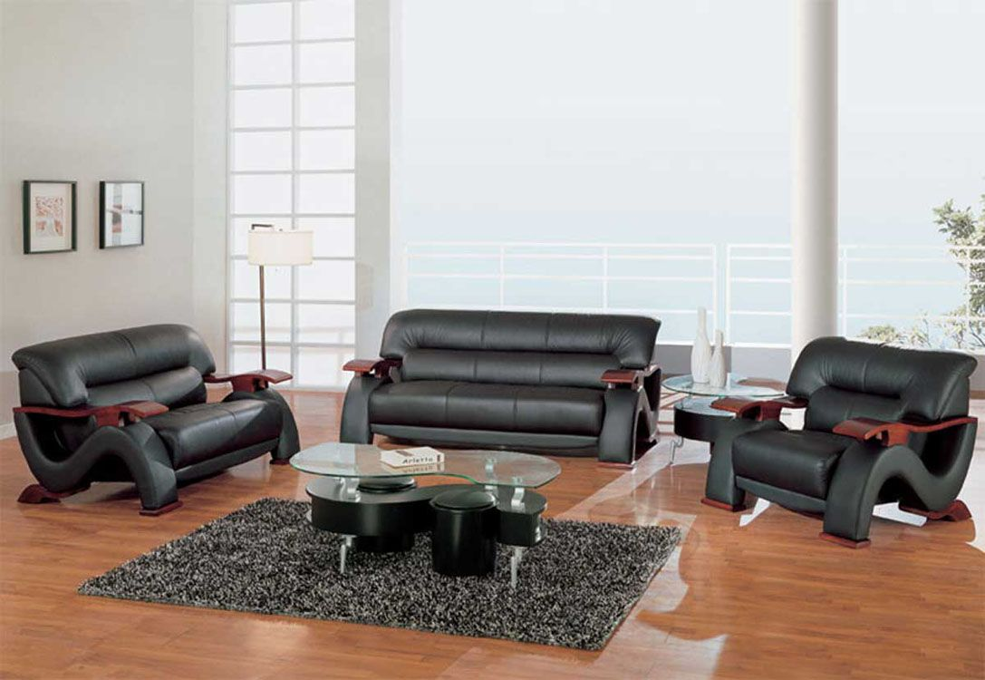 Grandiose Curvy Wood And Leather Sofa Set With 4 Colors Option  ~ Colored Leather Sofa Sets