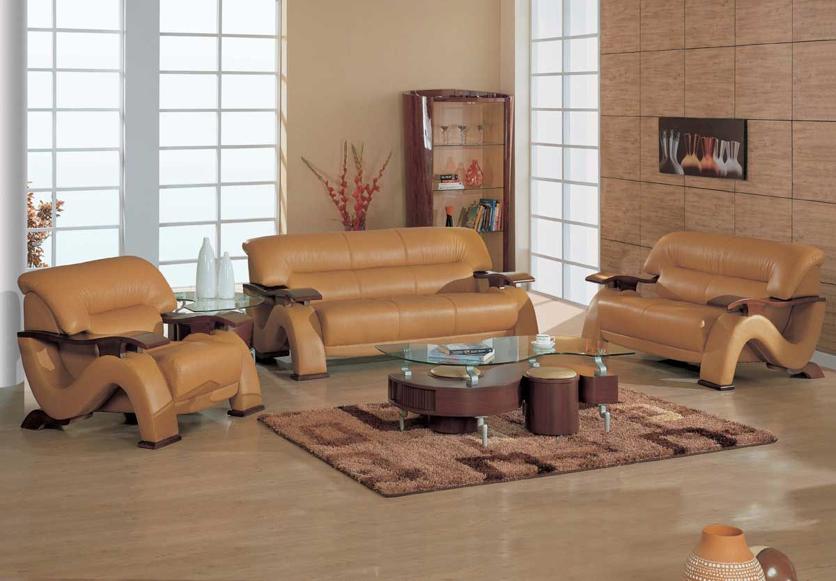 Grandiose Curvy Wood And Leather Sofa Set With 4 Colors