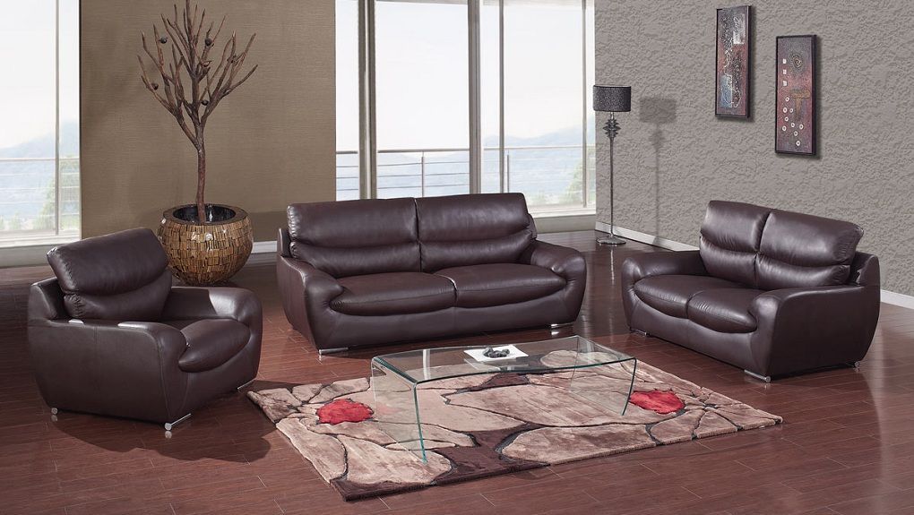 Chocolate bonded leather contemporary living room set for Leather living room sets